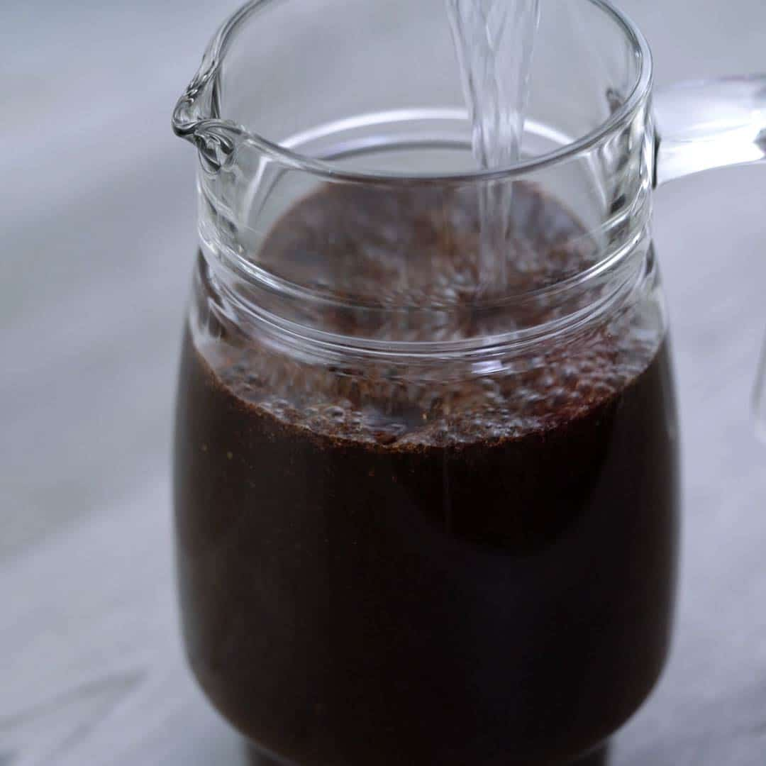 water added to coffee powder